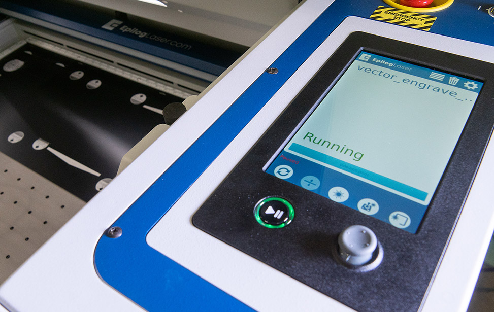 Epilog Fusion Pro touchscreen job controls at the laser system